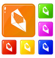 open envelope icons set color vector image vector image