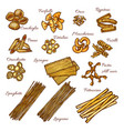 pasta and spaghetti sketch set of italian macaroni vector image vector image