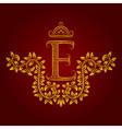 Patterned golden letter E monogram in vintage