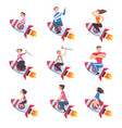 people riding space rockets set men women and vector image vector image