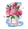 perfume bottle with pink peonies vector image