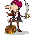 pirate with treasure cartoon vector image