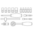 Ratchet and socket icon set Contour vector image vector image