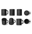 realistic detailed 3d blank black cup template vector image vector image