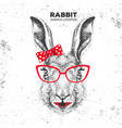 retro hipster animal rabbit hand drawing muzzle vector image vector image