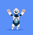 robot cheerful and friendly isolated on blue vector image