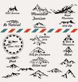 set retro mountain silhouettes for logotype vector image