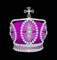 shiny crown of silver platinum and precious stones vector image vector image