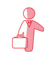 silhouette businessman with suit and briefcase vector image