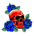 skull with roses graphics art vector image