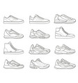 sneakers icon outline sport shoe types for vector image vector image