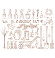spring hand drawn garden tools set vector image vector image