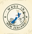 Stamp with map flag of New Zealand vector image vector image