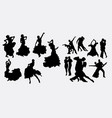 tango couple and latin dancer silhouettes vector image vector image