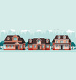 three red classic country houses vector image