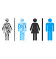 toilet persons collage of service tools vector image