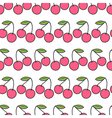 Two pink cherries with green leaf Seamless Pattern vector image