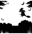 witch flying over forest silhouette vector image