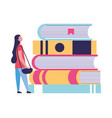 young woman with education books vector image vector image