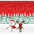 Snowman with reindeer and standing in the forest vector image