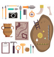 archaeology icon set isolated vector image vector image
