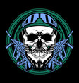 army skull cartoon vector image vector image