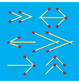 Arrows Symbols Made from Matches on Blue vector image