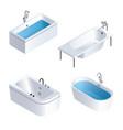 bathtub icon set isometric style vector image