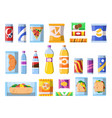 beverages food plastic containers fastfood drinks vector image vector image