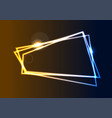 blue and orange neon geometric frame background vector image vector image