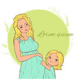 card with beautiful blond pregnant woman with a vector image vector image