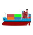 cartoon container ship vector image vector image