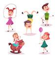 cartoon girl and boy baand preschool kids vector image vector image