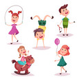cartoon girl and boy baand preschool kids vector image