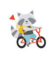 cheerful raccoon riding a bike with a backpack vector image vector image