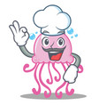 chef cute jellyfish character cartoon vector image