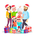christmas family celebrating mom dad vector image vector image