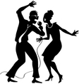 Couple singing karaoke vector image