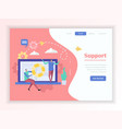 customer support service landing page vector image vector image