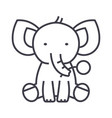 cute elephant line icon sign vector image vector image