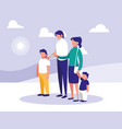 cute family with lanscape icon vector image