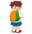 cute girl on his way to school vector image