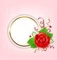 decorative round banner with red rose vector image vector image