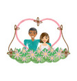 drawing couple love heart flowers decoration vector image vector image