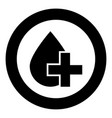 drop and cross icon black color in circle round vector image vector image