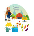 farmer organic natural food agriculture vector image vector image