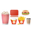 fast food icons set french fries coffee vector image vector image