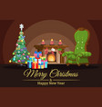 festive card room decorated xmas tree vector image vector image