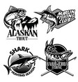 fishing badge design set vector image