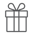 gift box line icon present and holiday package vector image vector image
